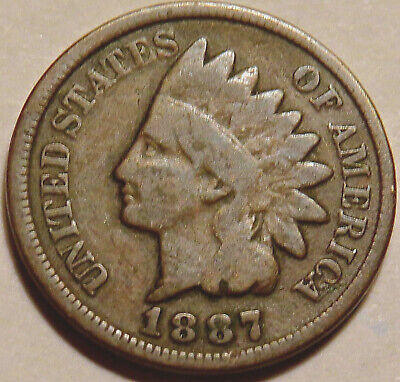 1887 Indian Head Cent. Good/very Good Coin. Bold Date & Full Rims. #816