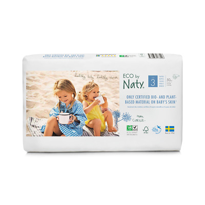 Naty by Nature care  ECO NAPPIES  SIZE 3  4-9 KG 2 PACKS OF 50 = 100 NAPPIES