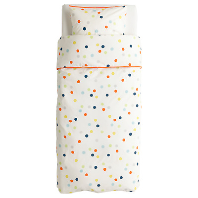 Ikea DROMLAND Twin Duvet Cover w/Pillowcase Bed Set White Polka Dot Discontinued