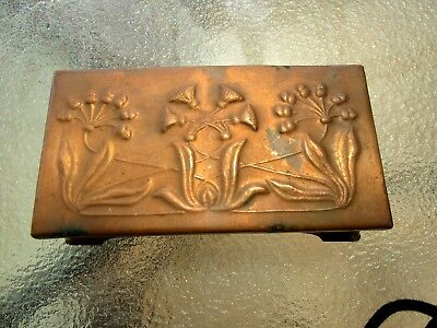 1900's Antique Art Nouveau Solid Copper TRINKET BOX - GORGEOUS SHAPE & DESIGN
