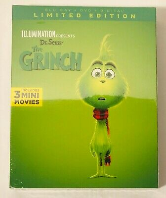 Illumination Dr.Seuss The Grinch (Blu-ray+DVD+Digital) Limited Edition BRAND NEW