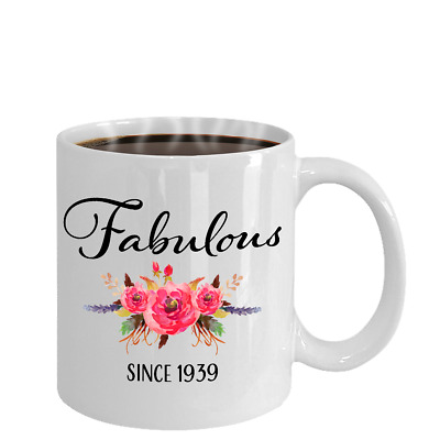 80th Birthday Gifts For Women Born In 1939 80 Year Old Female White Coffee Mug