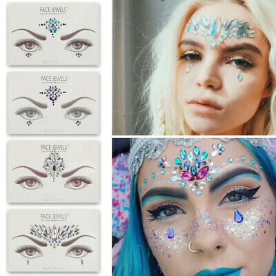 Festival Face Eye Body Art Jewel Peel and Stick on Piece Gem Diamond Crystal New
