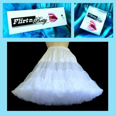 Flirtn Betty Vintage Rockabilly Style Dance Petticoat White or Black 55 or 62cm