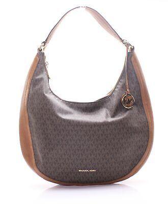 5f1eb67e8030 Michael Kors Brown Gold Lydia Signature Large Hobo Shoulder Bag  298-  064