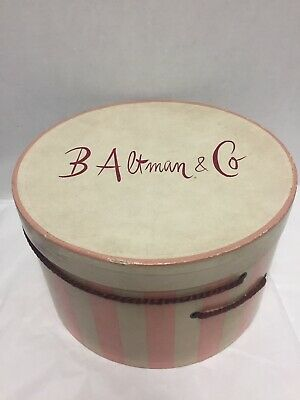 B Altman and Co Hat Box Pink White Vintage