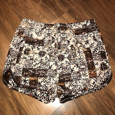 Vtg 50s 60s Brown LAGUNA Floral Mens SMALL Surf HAWAIIAN Shorts Swim suit Trunks