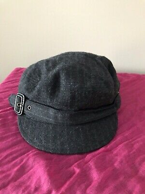 J. CREW BROWN Wool Houndstooth Newsboy Cabbie Hat Cap Size S M. New ... a16fa42970a6