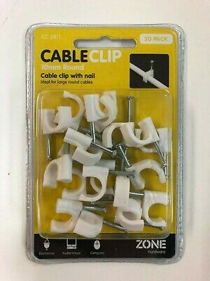 Cable Clips with nail - 10mm round - Pack of 20