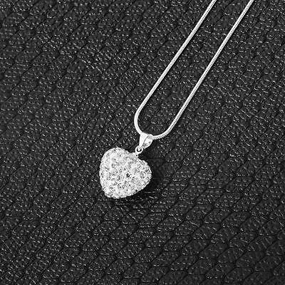 Hot Style 925 Sterling Silver Rhinestone Crystal Heart Locket Pendant Necklace