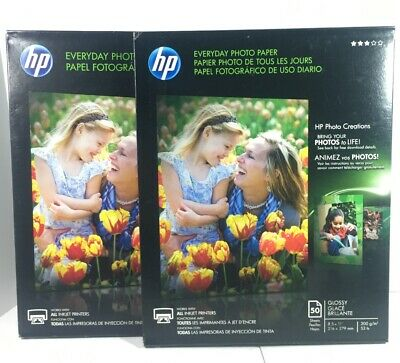 Lot 2 HP Everyday Glossy Photo Inkjet Paper 8.5 x 11 - 100 Sheets Total Q8723A