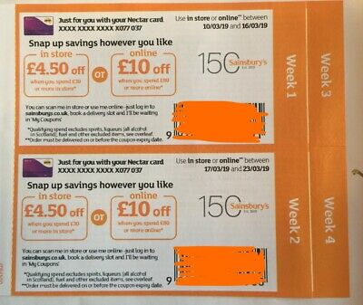 Sainsburys Money Off Coupon Voucher - worth £30 online/£13.50 in-store 3 weeks