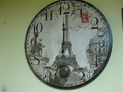 Large Vintage Wall Clock 58cm Nostalgic Clock Antique Style Paris Eiffel Tower