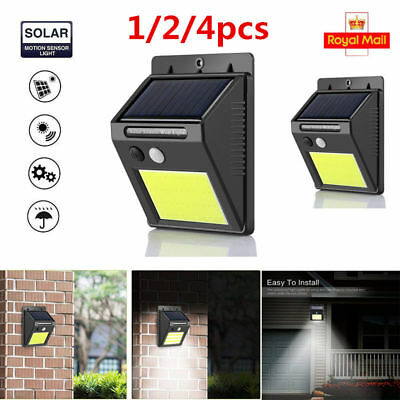 4x48LED Solar Powered PIR Motion Sensor Wall Security Light Garden Lamp Outdoor