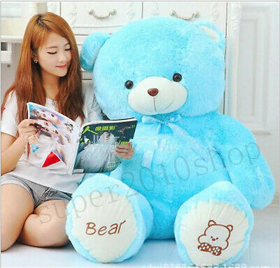 "39"" Blue Giant Huge Stuffed Teddy Bear Plush Soft Toy Doll Birthday Gift 100cm"