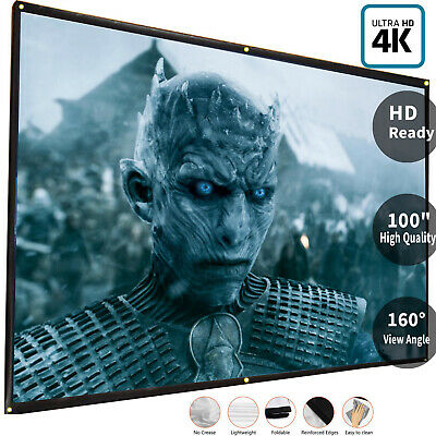 """100""""Inch Projection Projector Screen Fabric 16:9 Portable Cinema Theater Matte"""