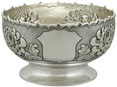Antique 1900s Chinese Export Silver Bowl Height 10.6cm 582g