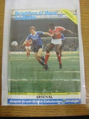 10/04/1982 Brighton And Hove Albion v Arsenal . Thank you for viewing our item,