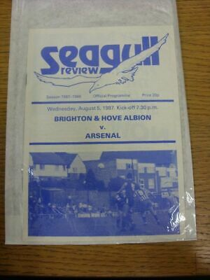 05/08/1987 Brighton And Hove Albion v Arsenal [Friendly] (Very Good Condition).