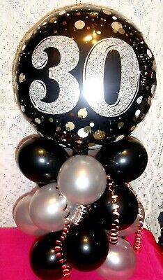 Foil Balloon Age 30 30Th Birthday Table Decoration Display Airfill Black Silver