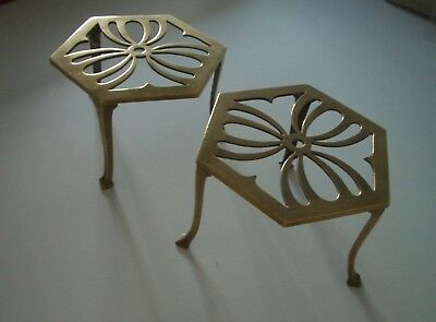 BRASS TRIVETS Attractive Matching Pair - Excellent Condition