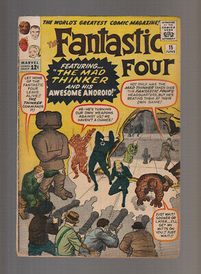 Fantastic Four # 15  The Mad Thinker & his Android !  grade 3.0 scarce book !