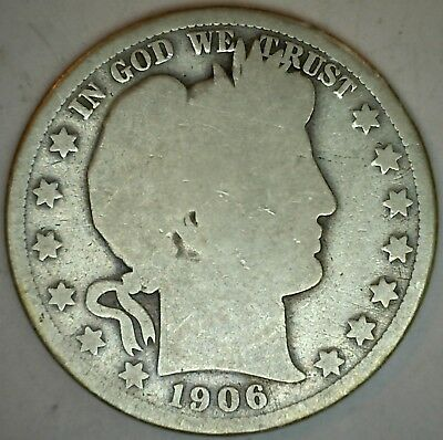 1906 O Silver Barber Half Dollar US Type Coin Fifty Cents 50c AG Almost Good K49