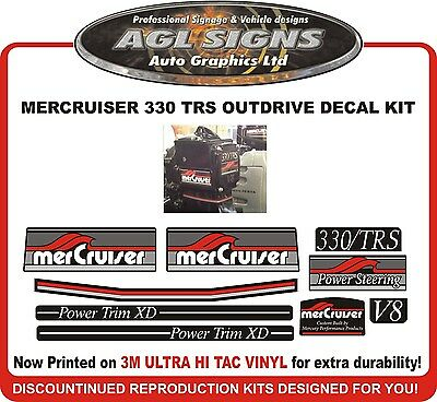 Mercruiser 330 TRS V8 Outdrive 9 Piece  Reproduction Decal Kit   Mercury