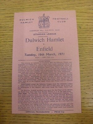 16/03/1971 Dulwich Hamlet v Enfield  (Single Sheet, Neat Team Changes).  This it