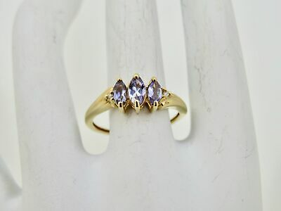 Lovely 10K Yellow Gold 3 Stone Iolite Ring