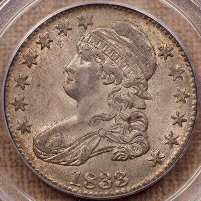 1833 O.105 Bust half, PCGS MS62, lovely, antique patina     DavidKahnRareCoins
