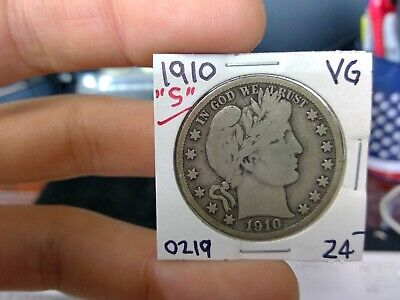 1910-S 50C Barber Half Dollar Circulated  90 % Silver US Coin Rare VG Fine +++