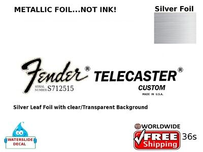 Fender Telecaster Custom Guitar Decal Headstock Inlay Decal Restoration 36s