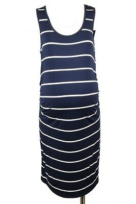 8ffa89c2297 Rosie Pope Maternity Kimberly navy white L 12 14 stripe cinched dress NEW   98