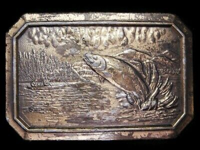 Li03136 Vintage 1977 ***Fish Jumping For Bait*** Brasstone Fishing Belt Buckle