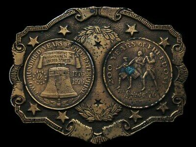 Kf13113 Vintage 1976 **200 Years Of Freedom Bicentennial** Brasstone Belt Buckle