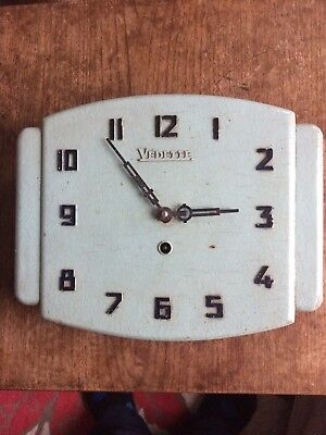 Vintage Art Deco Vedette Wall Clock. French. Lovely Painted Patina .