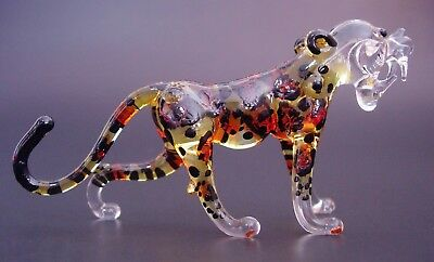 Glass LEOPARD CHEETAH Spotted Wild Cat Painted Glass Ornament Glass Animal Gift