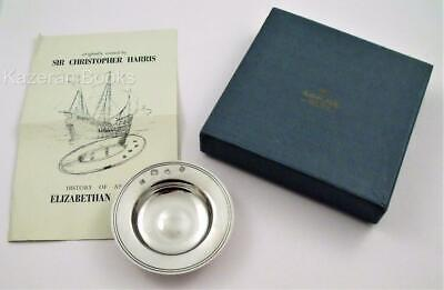Vintage Solid Silver English Hallmarked Armada Pin Dish Bowl 1968 & Leaflet 46g