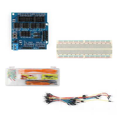 For Arduino UNO R3 MEGA Sensor Shield V5.0+830 Point Breadboard+Jumper Wires