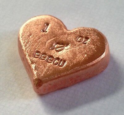 1oz hand poured copper heart bar 999 fine. Nice add to american eagle collection