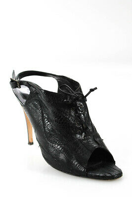 6d62845bee54 Manolo Blahnik Womens High Heels Slingbacks Black Lace Up Ostrich Size 40 10