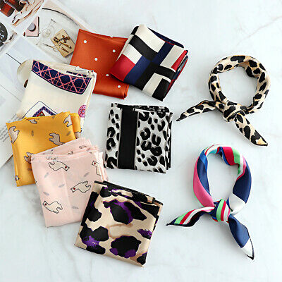 Women Silk Feel Satin Square Scarf Retro Neckerchief Head Neck Tie Hairband Wrap