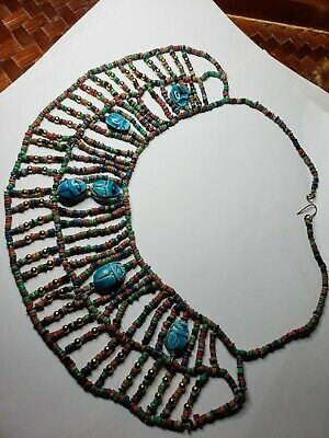 Vintage Egyptian Scarab bead necklace