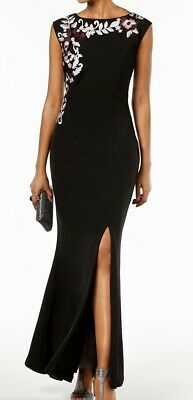 c08c6a01ee SLNY NEW Black Women s Size 4 Floral Embroidered Split Gown Dress  119-  415