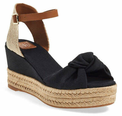 d4443edfee45 New Tory Burch Black Knotted Bow Wedge Platform Espadrille Sandal Shoe 8.5