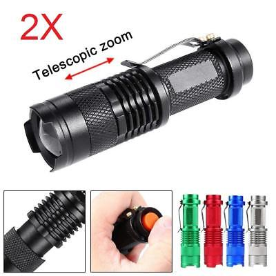 2pcs Mini Q5 LED Flashlight 14500 AA Torch 1200LM Zoomable Lamp Light DA