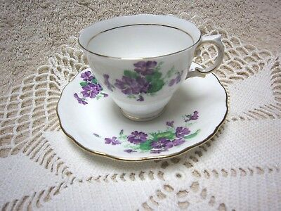 Vintage Colclough Tea Cup and Saucer White with Violets Made in ENGLAND
