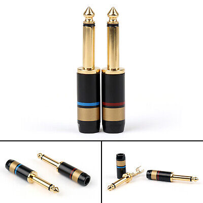 """2PCS Copper 6.5mm 1/4"""" Mono Jack Plug Soldering Connector Gold Plated"""