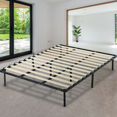 Platform Bed Frame Mattress Foundation Full Size Metal Bed Base Heavy Duty Wood